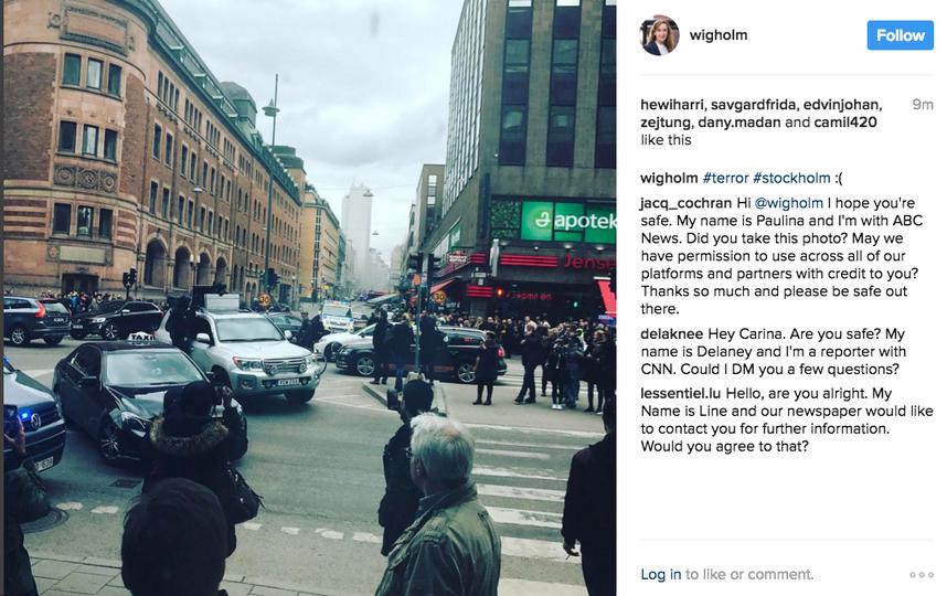 Грузовик въехал втолпу вцентре Стокгольма, есть жертвы