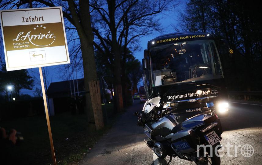 """Автобус дортмундской """"Боруссии"""", возле которого прогремели взрывы. Фото Getty"""
