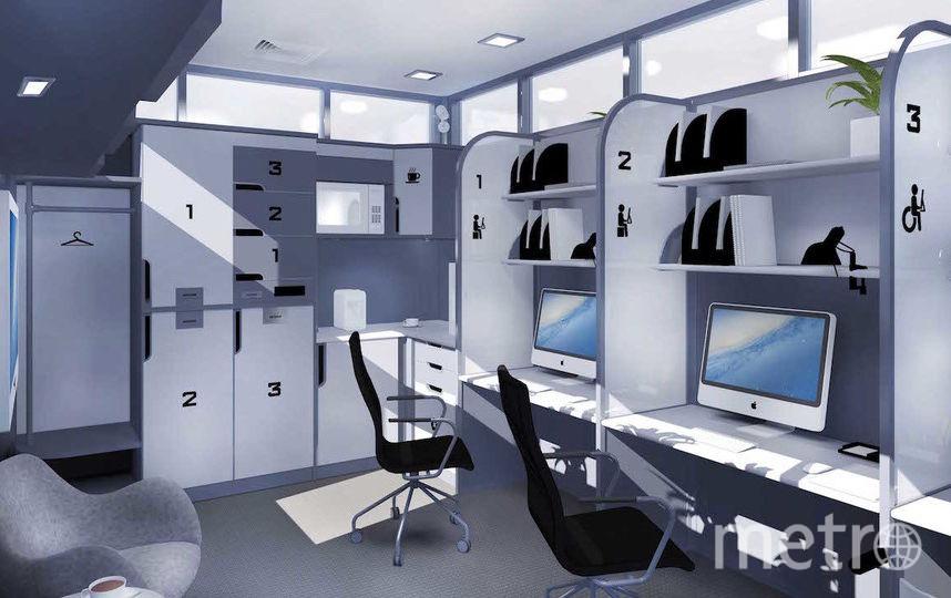 """Интерьер офисного модуля с гостевыми местами. Фото Артур Скижали-Вейс, """"Metro"""""""