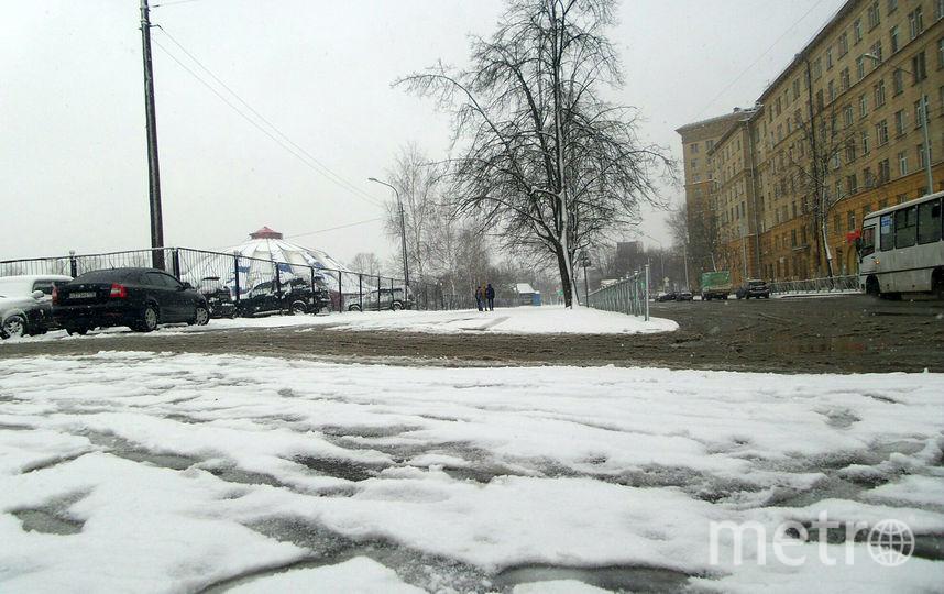 "Снег в Петербурге идет с утра 13 апреля. Фото Анна Лутченкова, ""Metro"""