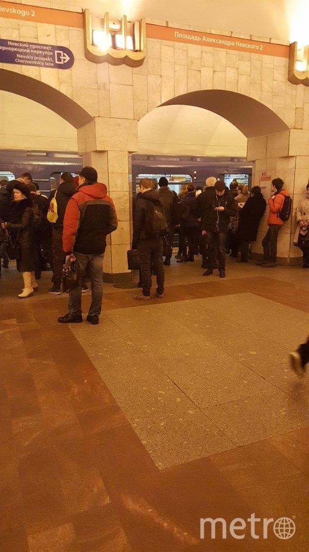 """""""Между """"пл. А. Невского"""" и """"Новочеркасской"""" поезд встал в тоннеле. Фото vk.com"""