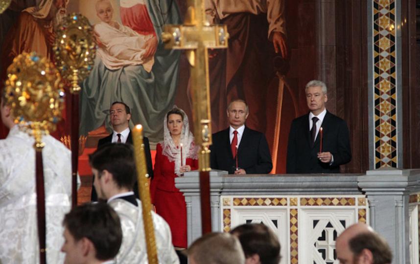 Путин встретил Пасху в Храме Христа Спасителя. Фото Getty