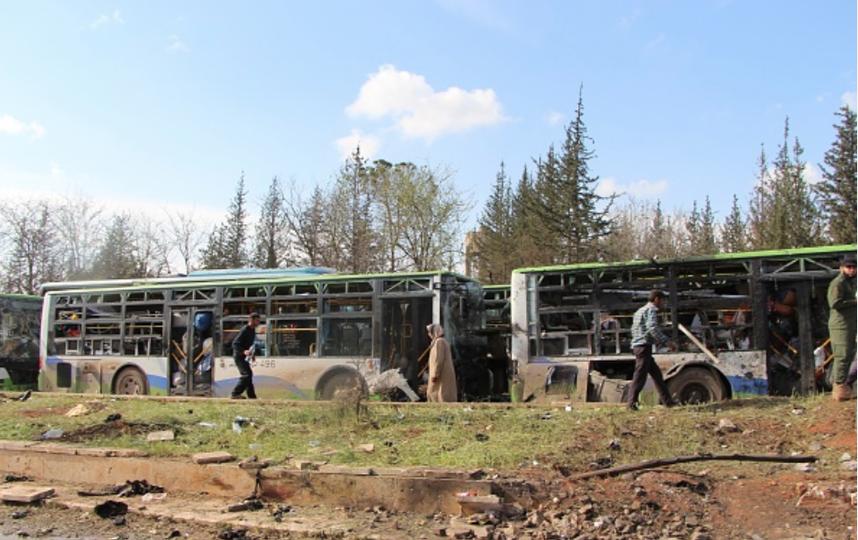 В автобусах были женщины, старики и дети. Фото Getty