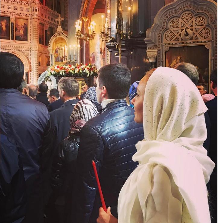 Навка на службе в Храме Христа Спасителя. Фото Фото: соцсети.