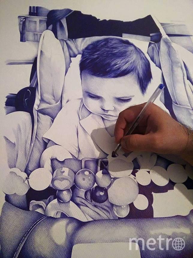 Художник рисует сына. Фото Anthony Caseiro