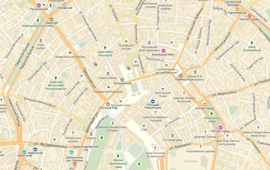 В центре Москвы ограничено движение из-за подготовки к параду Победы. Фото yandex.ru/maps