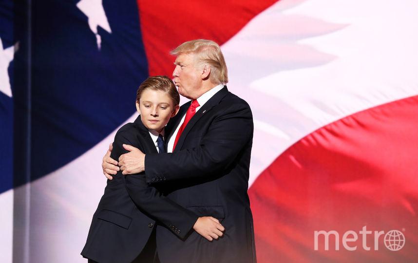 Дональд Трамп и Бэррон. Фото Getty