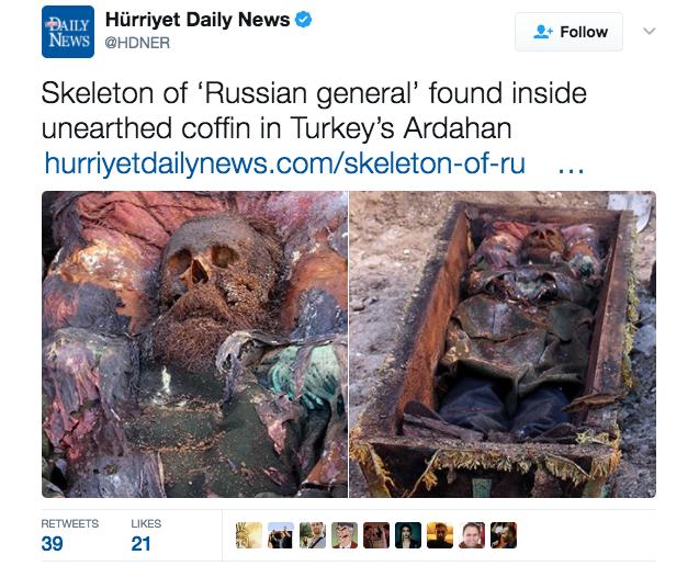В Турции найден гроб с телом российского генерала. Фото Twitter @HDNER.